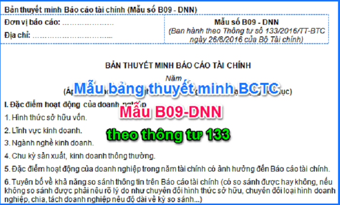 Mẫu thuyết minh báo cáo tài chính (Mẫu B09-DNN) theo thông tư 133